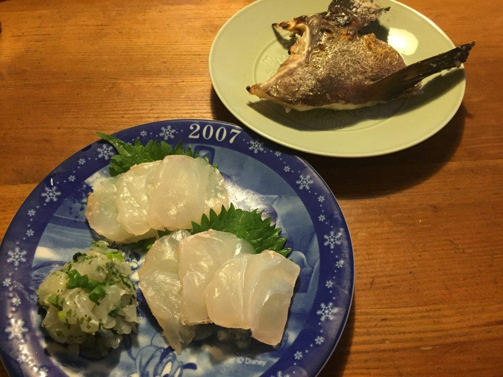 2-4.コクハンの刺身、タタキ、カマ焼き